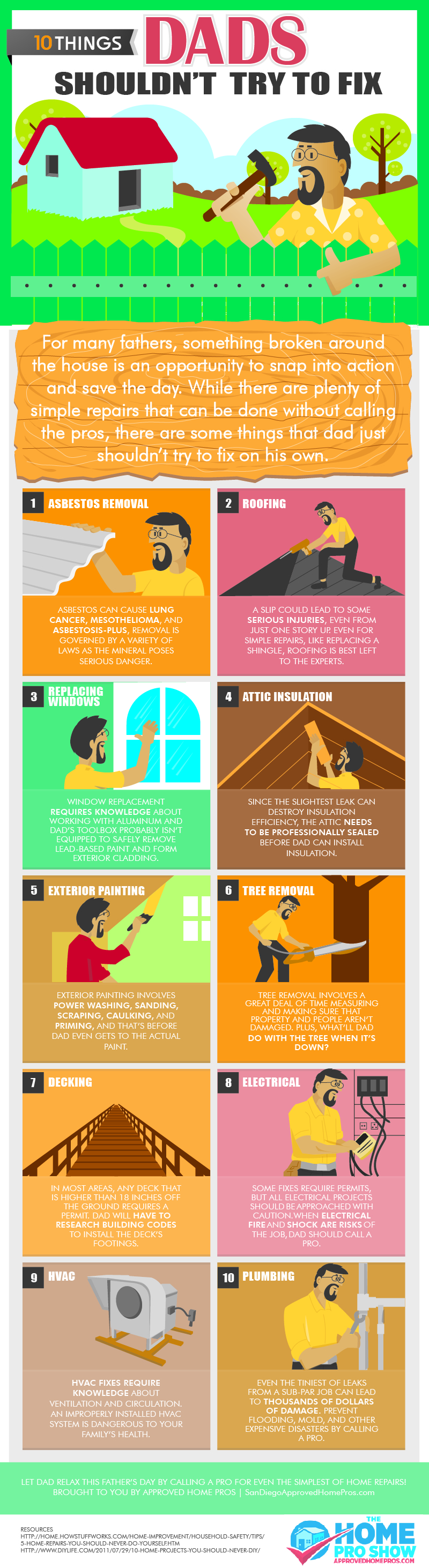 10 Things Dads Shouldn't Try to Fix Infographic