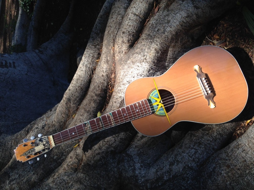 Woodworking project submission from Josh S. a Balboa Park Themed guitar